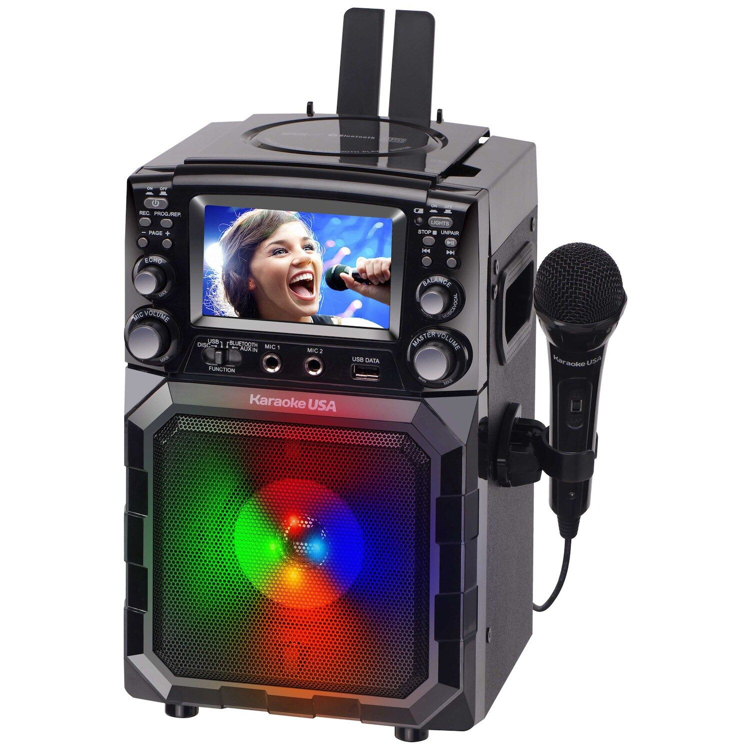 Karaoke USA Portable CDG/MP3G Bluetooth Karaoke Player with 4.3 TFT Color Screen and Recording Function