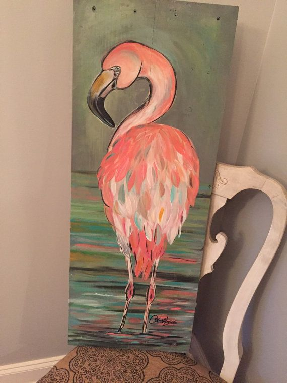 14x36 pink flamingo painted on reclaimed by SoulSisterPalletShop ...