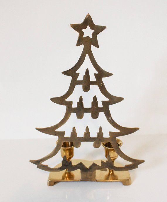 Vintage Brass Christmas Tree Candle Holder.Vintage Brass Christmas Tree Candle Holder Brass