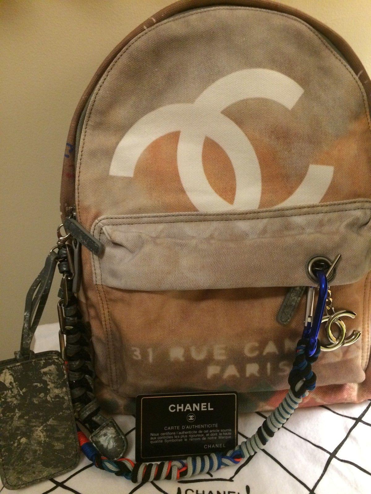 de3b6d3908eb Chanel Backpack (Women s Pre-owned Gray Graffiti Printed Canvas Multi-Color  Designer Back Pack)
