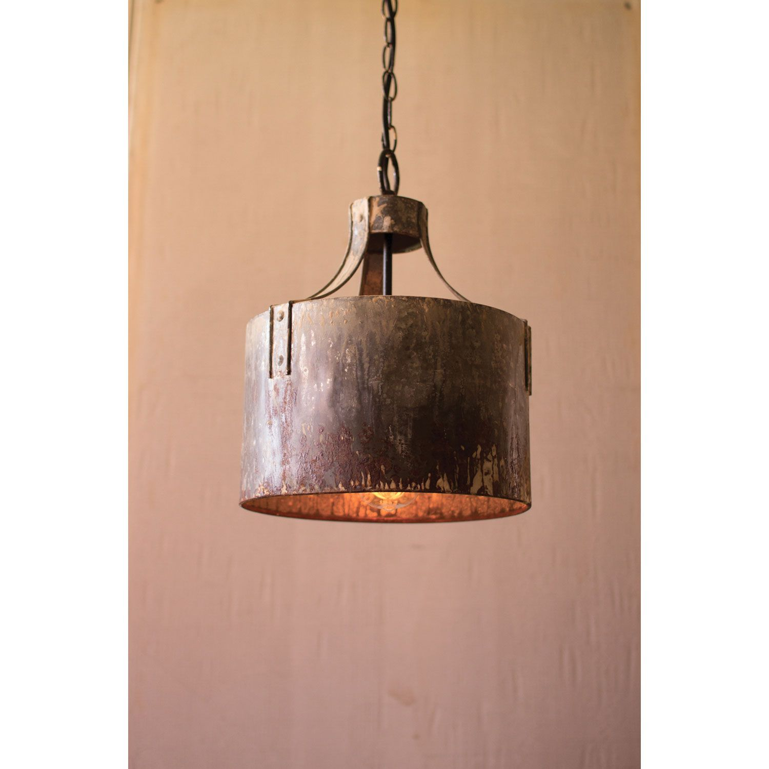 Metal Cylinder One Light Pendant Kalalou Drum Lighting Ceiling