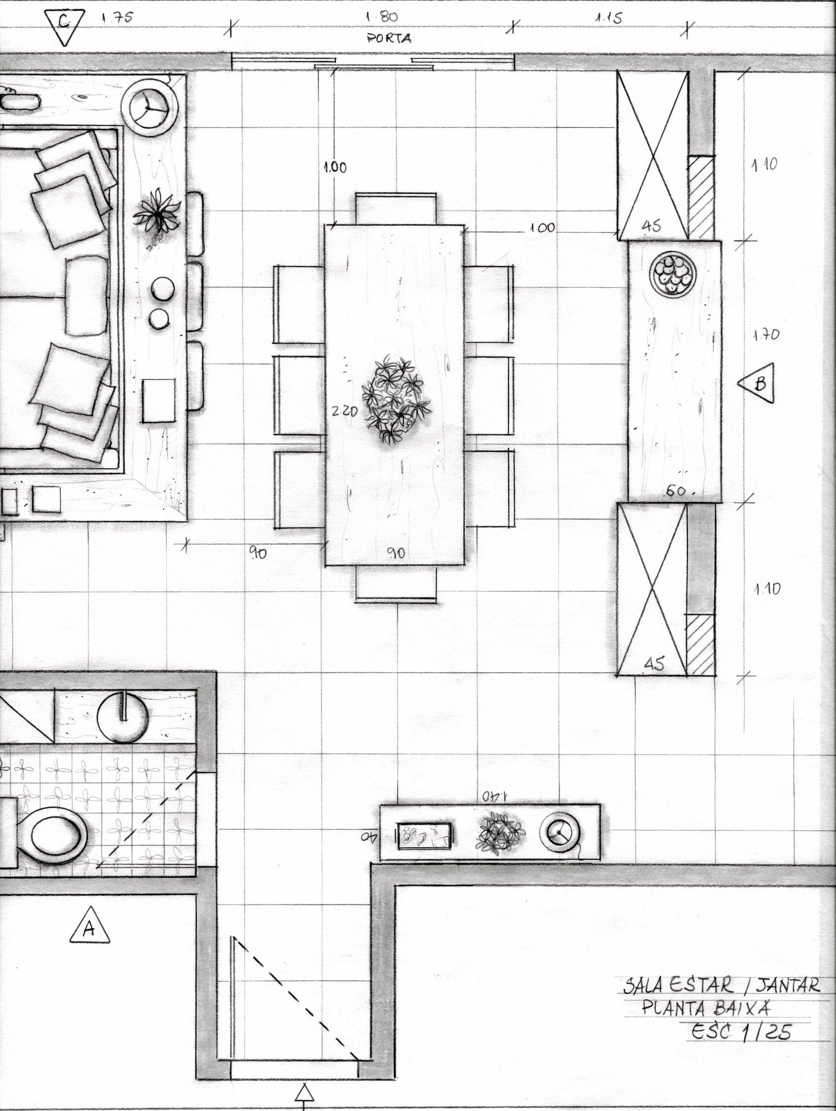 Planta baixa sala de estar