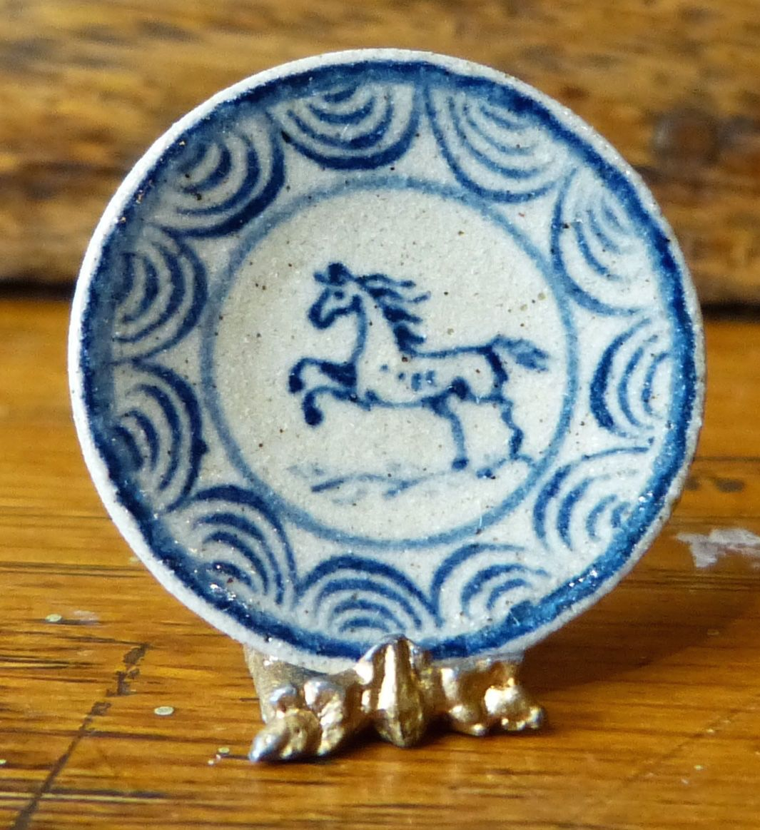 Jane Graber (IGMA Artisan) Miniature Stoneware Horse Dinner Plate 112 Scale : horse dinner plates - pezcame.com