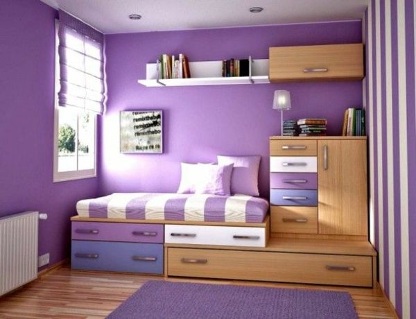 zimmergestaltung farbgestaltung mädchen m jugendzimmer lila wand,