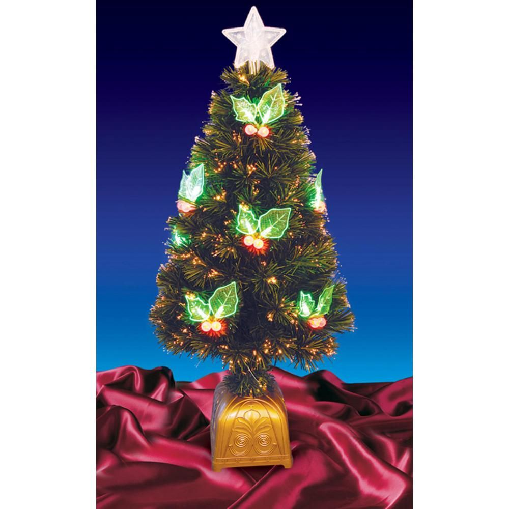 Northlight 3 ft. Pre-Lit with LED Holly Berries Fiber ...