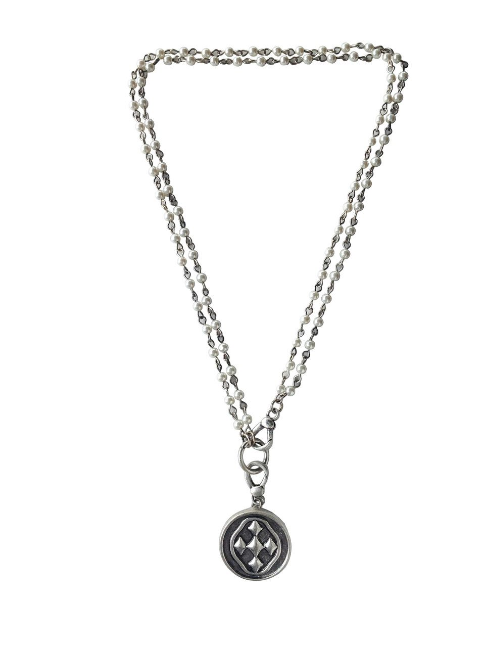 Gracewear collection 385 pearl rosary bead necklace with 1 gracewear collection 385 pearl rosary bead necklace with 1 round shield of faith aloadofball Images