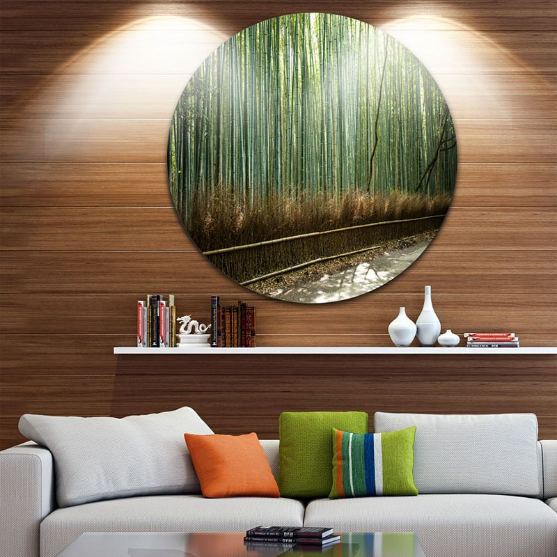 8235df4db6 Design Art Beautiful View of Bamboo Forest ForestMetal Circle Wall Art Print