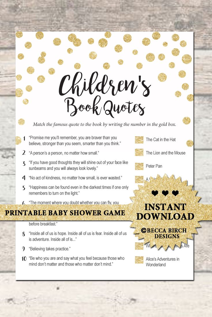 Children's Book Quotes Trivia - Baby Shower Game - Gold - Printable -  Instant Download