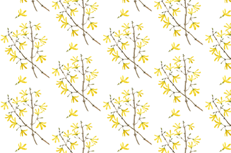 Golly Bard - Woodland Collection - Forsythia fabric by gollybard on Spoonflower - custom fabric