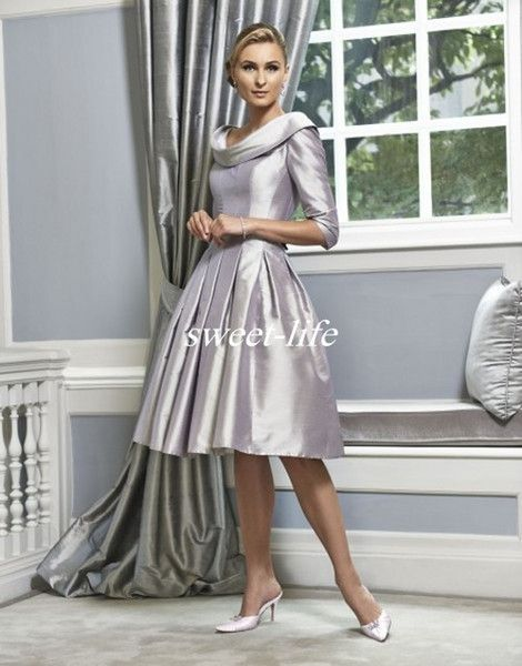 Cheap Silver Wedding Mother Of The Bride Dresses Knee Length Scoop ...