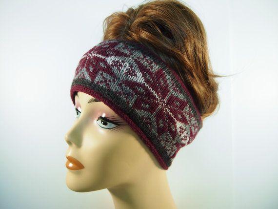 Fair Isle Knitted Winter Ski Headband In Heather Grey Charcoal