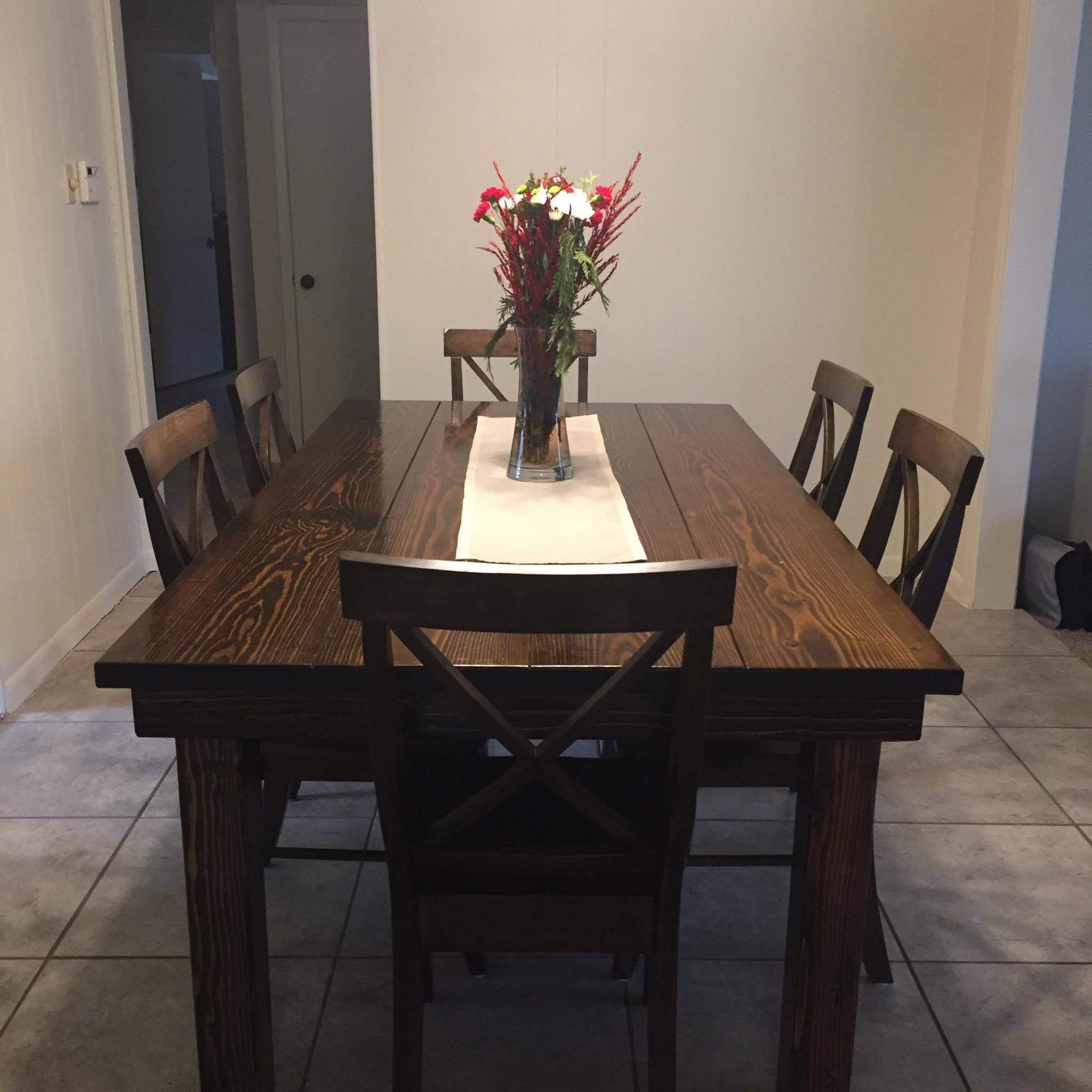 6 5 L X 42 W Farmhouse Table Stained Dark Walnut With A Traditional Top And Back Dining Chairs