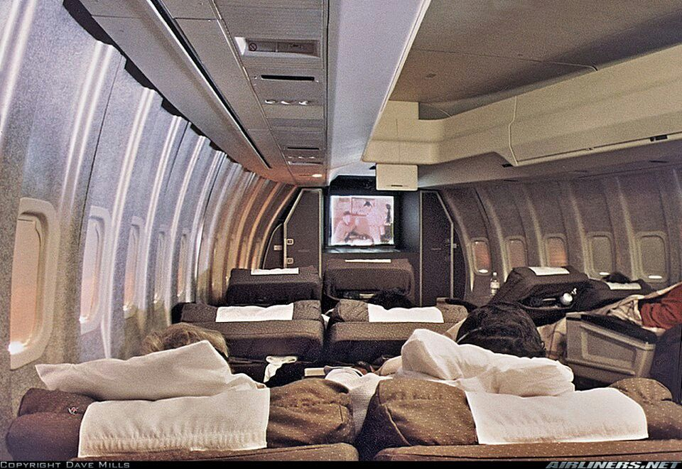 Continental airlines international first class cabin on a