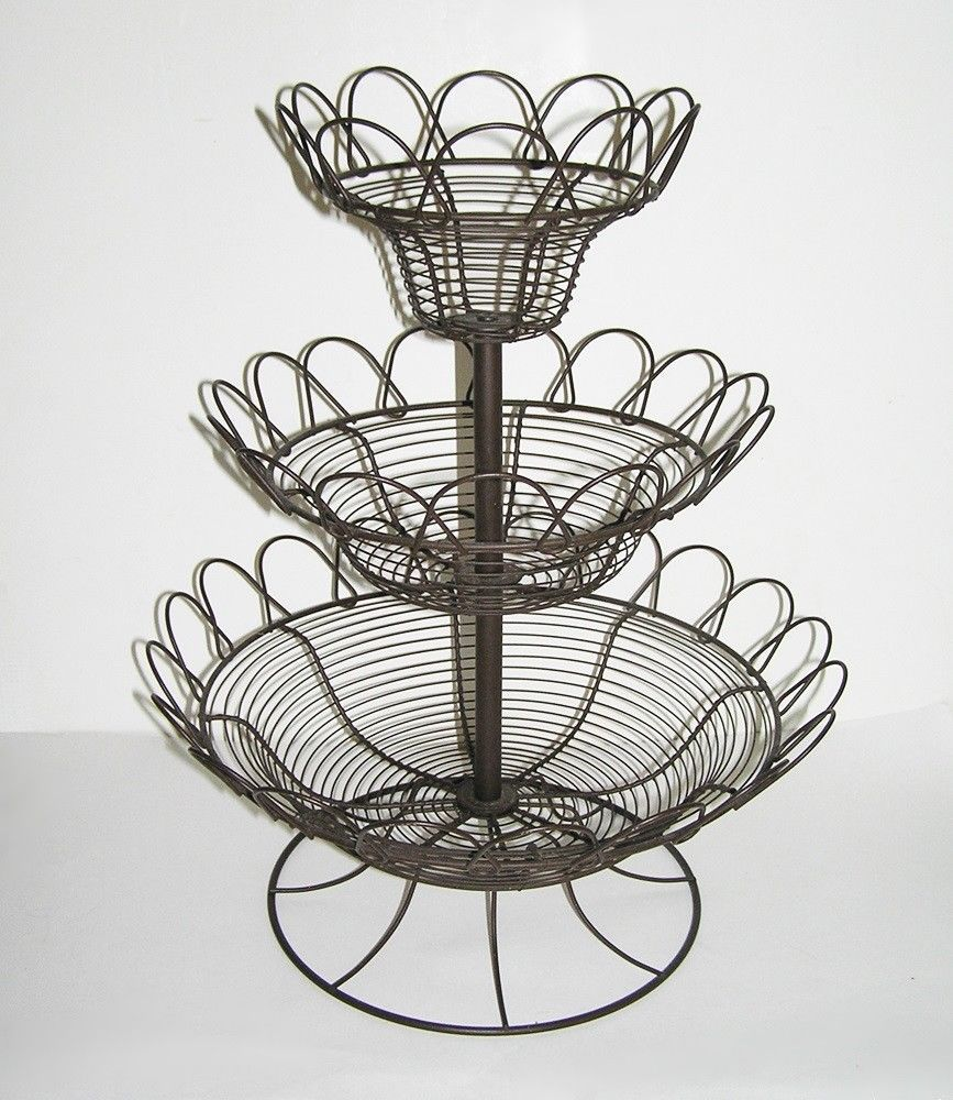 French Country 3 Tier Wire Basket Stand Egg Fruit Vegetable 19.5 ...