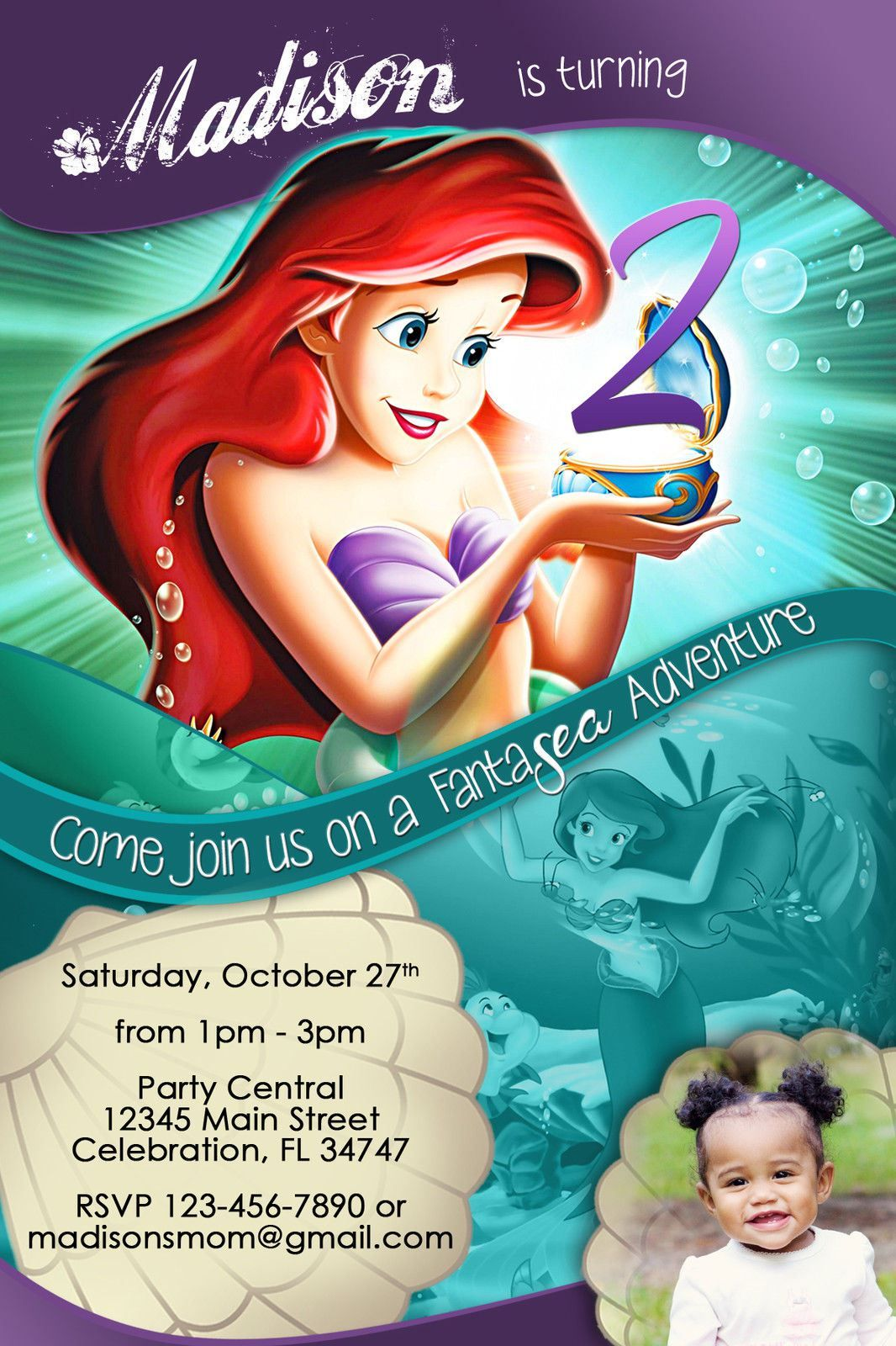 Free Ariel Birthday Party Invitations PRINCESS LITTLE MERMAID ARIEL