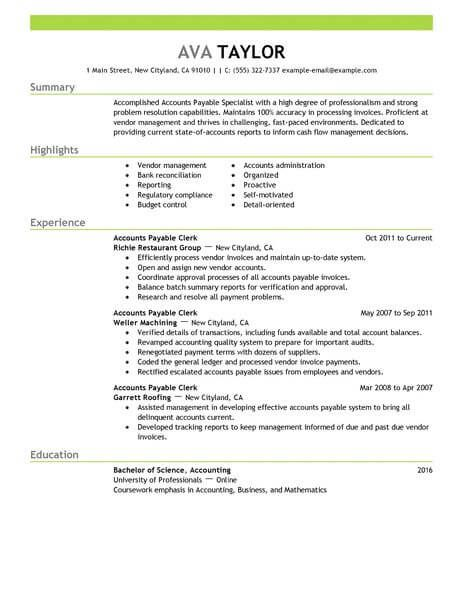 Accounts Payable Resume Samples Custom Resume Examples Accounts Payable  Pinterest  Resume Examples