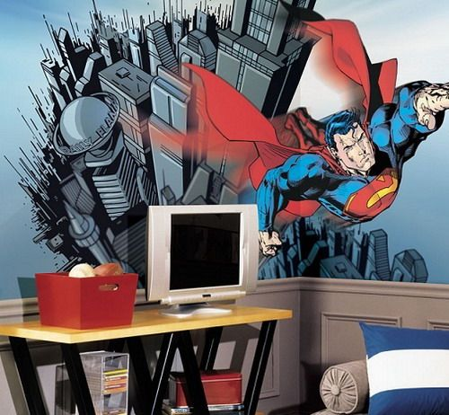 Kids room wall decor with superman wallpaper pictures