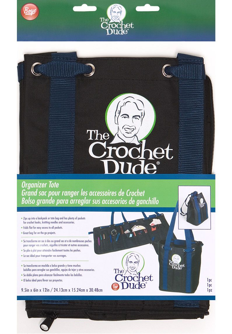"""Designed by The Crochet Dude to zip into a backpack or tote with pockets for crochet hooks, knitting needles & more! Folds flat for easy access. 9.5"""" X 6"""" X 12""""  I love it!  Coulda used this last weekend on my camping trip!"""