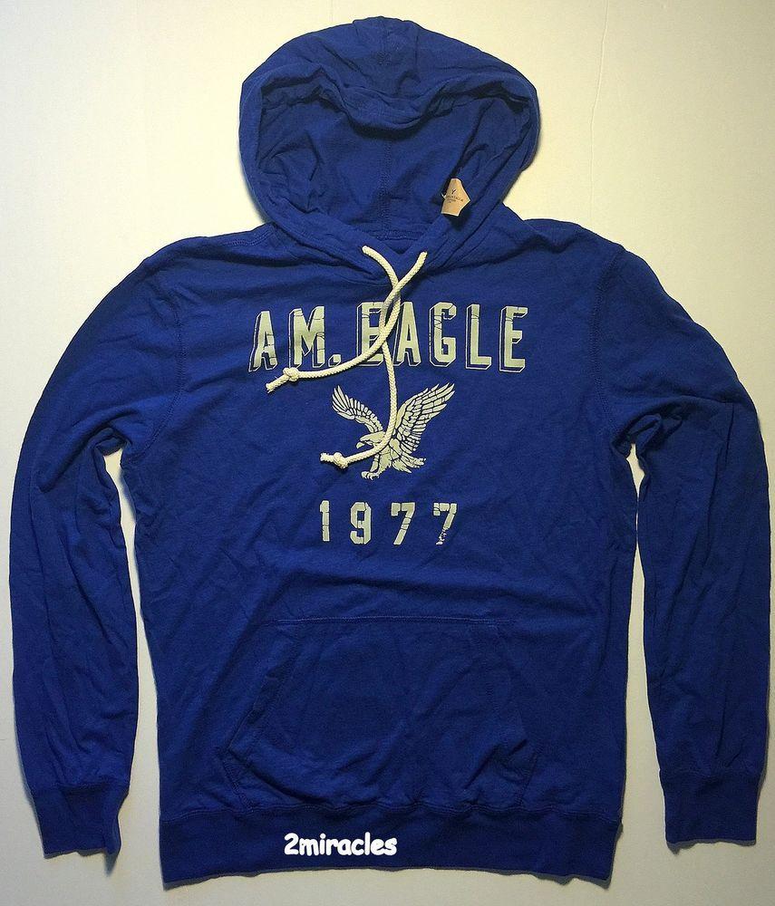 American Eagle Ae Mens Blue Lightweight Pullover Hoodie Sweatshirt M Nwt Hoodies Men Sweatshirts Hoodie Hoodies [ 1000 x 855 Pixel ]