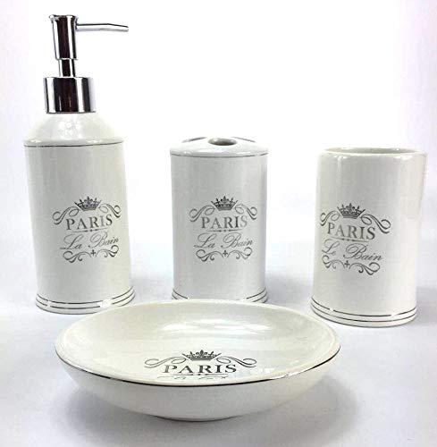Amazon Com Wpm 4 Piece Bathroom Accessory Set White Classic French Provincial Bath Gift Set Incl Bathroom Accessories Sets Bathroom Accessories Bath Gift Set