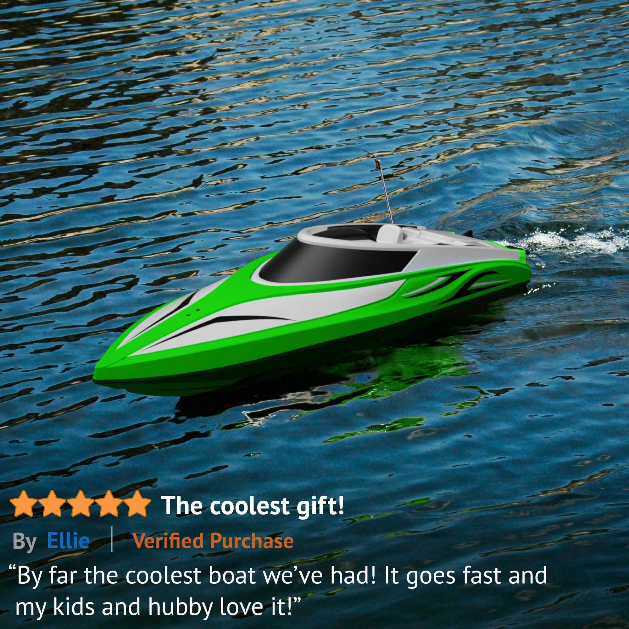 H102 Velocity Fast Remote Control Boat Green Make Waves