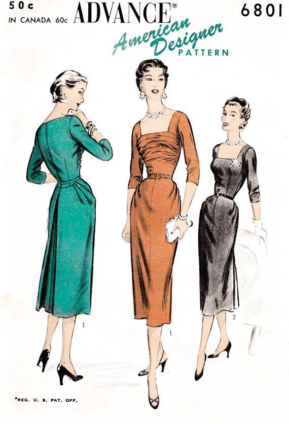 Patron de couture vintage robe wiggle des années 1950 / / cocktail formel / / forme de sablier / / buste 30 32 34 36 38   – It's Classy…It's Feminine…It's Style!