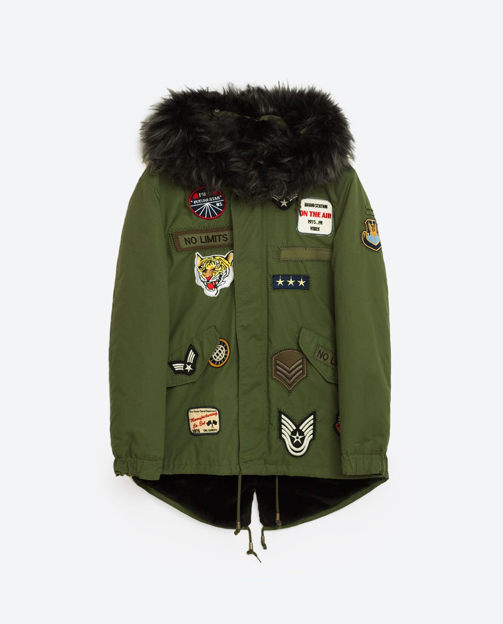 L Parka capucha Zara abrigo con de mujer verde Sz 14