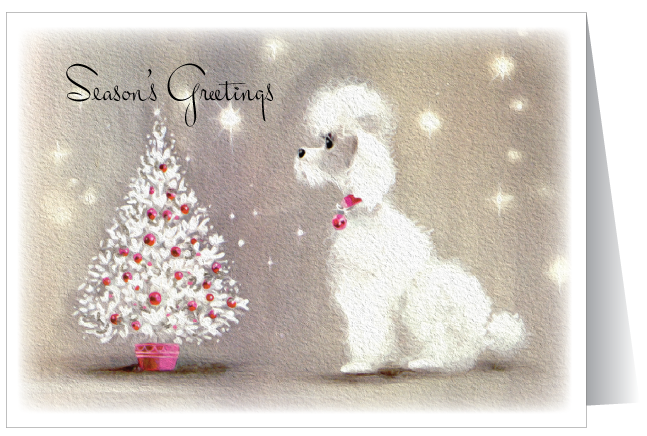 Retro Vintage Poodle Holiday Card