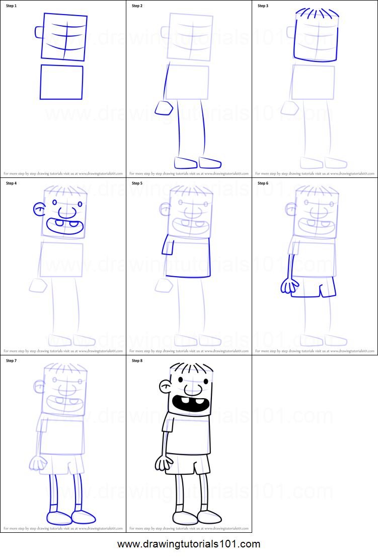 How To Draw Rowley Jefferson From Diary Of A Wimpy Kid Printable Step By Step Drawing Sheet Drawingtutoria Wimpy Kid Rowley Diary Of A Wimpy Kid Kids Doodles