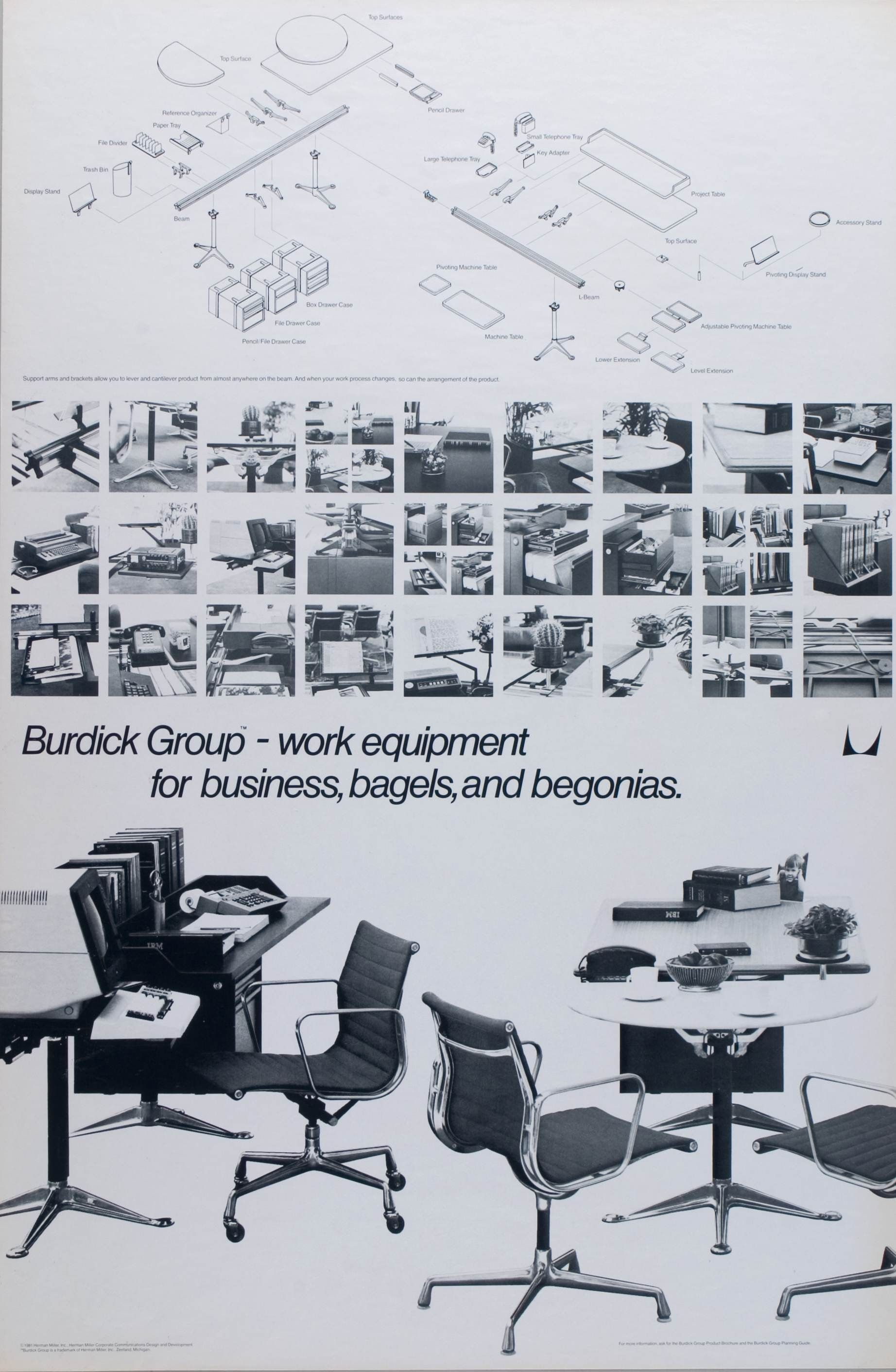 At Herman Miller, The Burdick Group desk system was often paired with Eames aluminum group chairs.