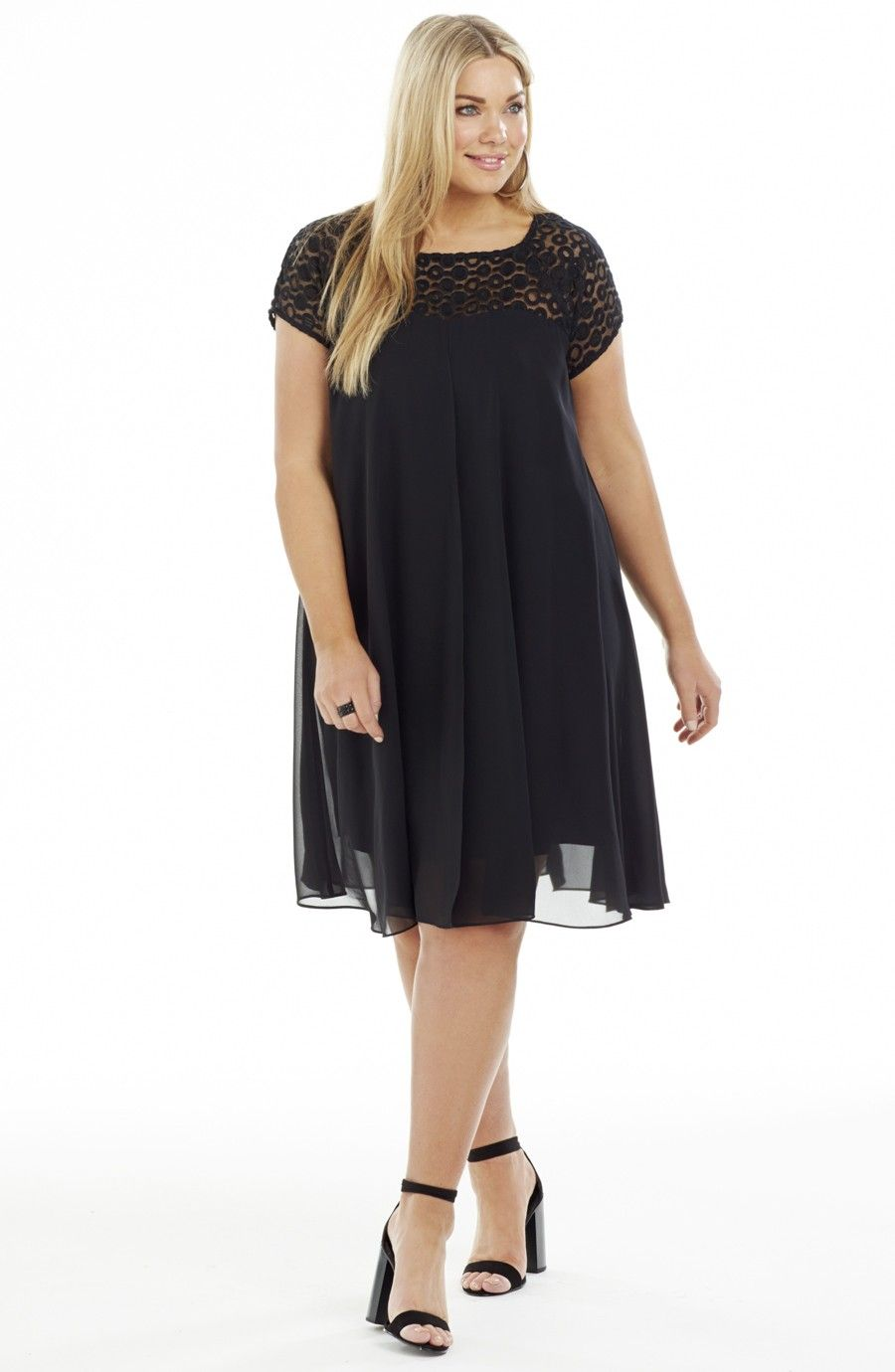 Black dress under knee - Swing Dress With A Flowy Overlay Black Style No Ed5143 Knee Length Swing Party