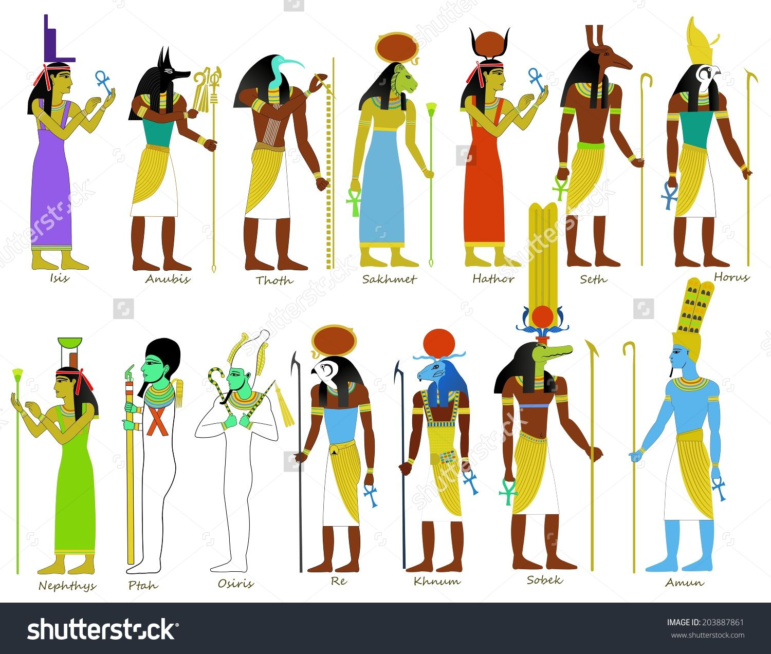 Stock photo a set of ancient egyptian gods and goddesses a set of ancient egyptian gods stock illustration image 42336854 publicscrutiny Image collections