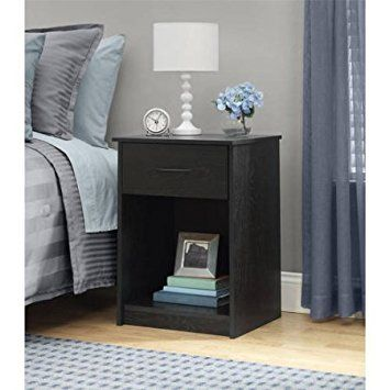 Mainstays End Table Bedroom Night Stands Bedside Table Storage Black Nightstand