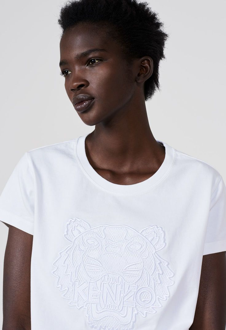 6bffe646 Embroidered Mesh Tiger T-shirt for WOMEN Kenzo   Kenzo.com ...