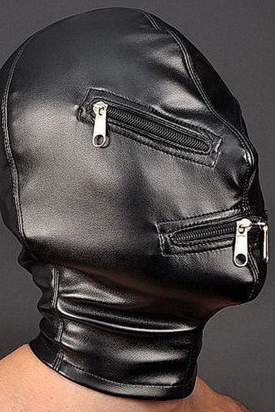 Sensory Deprivation Leather Mask with Zipper c45qxZV