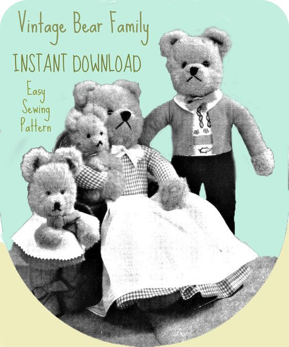 Vintage toy pattern / Bear Family / instant download / pdf/ sewing ...