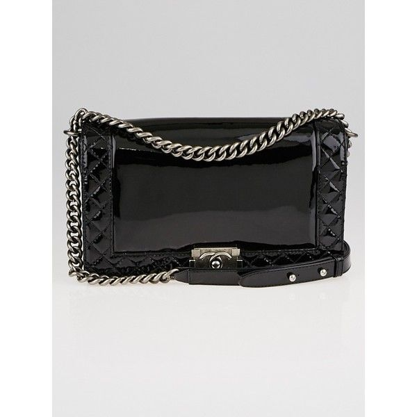 Pre-owned Chanel Black Patent Leather Boy Reverso Medium Flap Bag (9.015 BRL) ❤ liked on Polyvore featuring bags, handbags, quilted crossbody, chanel purse, patent leather purse, crossbody chain purse and patent leather handbags