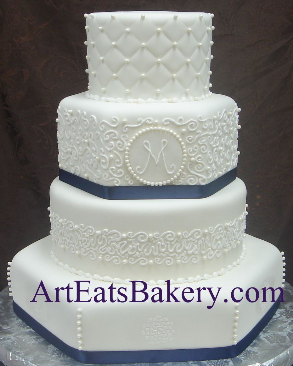 Four tier round and hexagon white fondant custom unique wedding cake ...