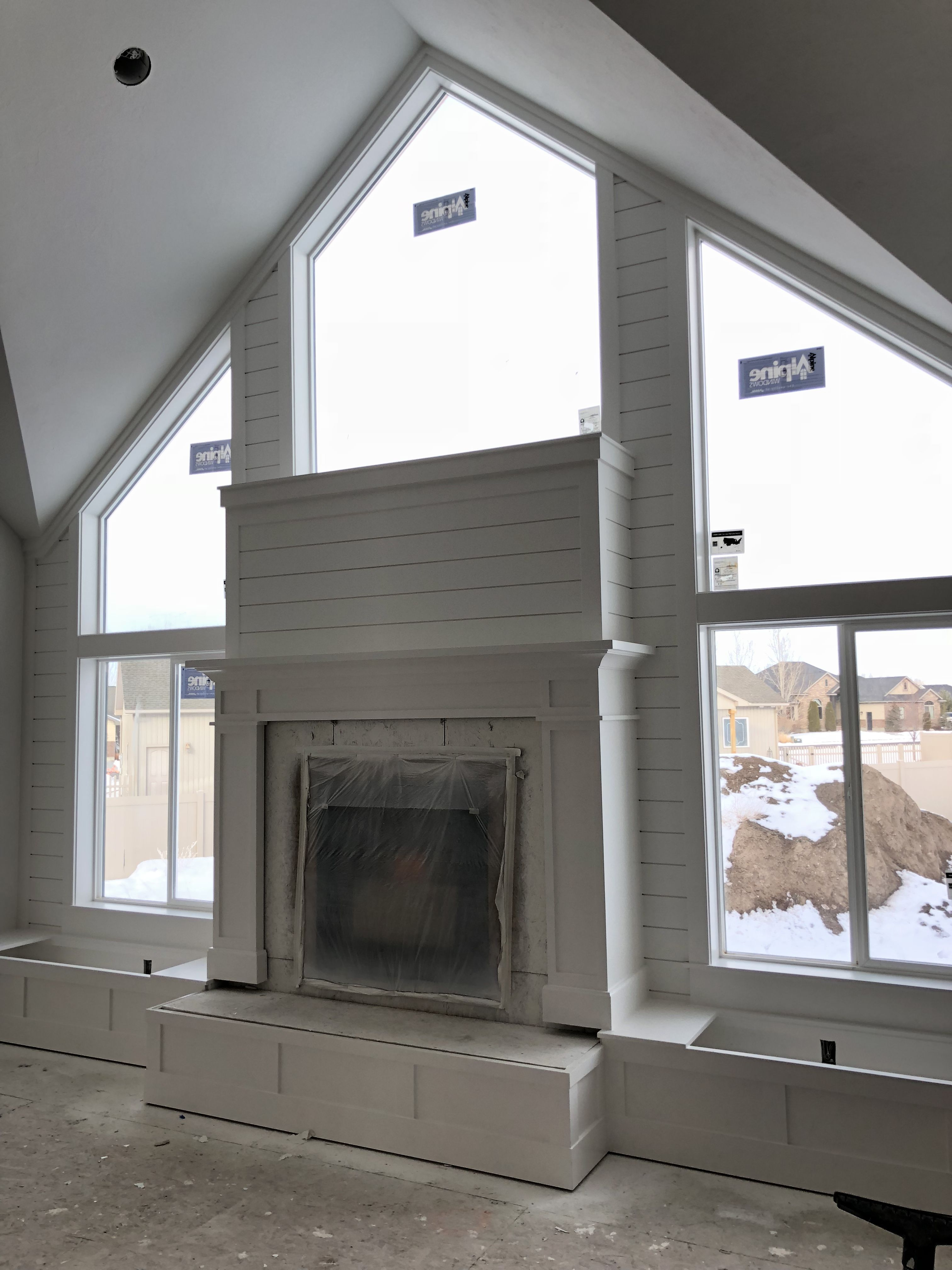 Shiplap Fireplace Surrounded By Windows Side Built In