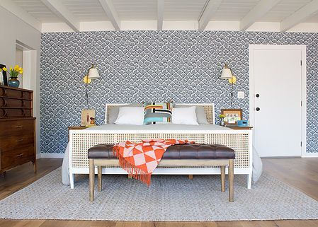 Mid Century Modern Master Bedroom With Japanese Inspired Navy And White Wallpaper Vintage Furniture Mixed For An Eclectic Style
