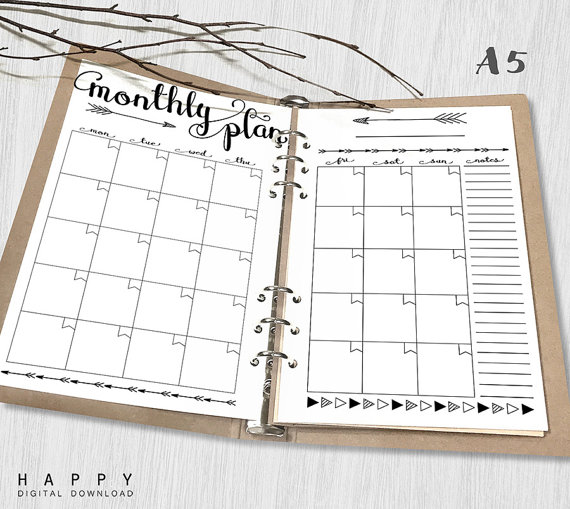 Printable Monthly Planner A5 Monthly by HappyDigitalDownload