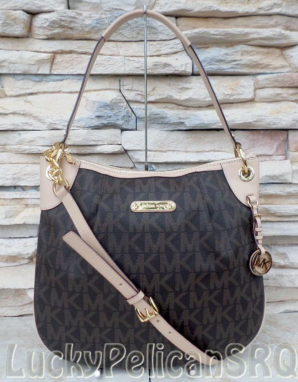 Michael Kors Jet Set PVC MK Signature Large Shoulder Crossbody Bag Brown NWT   MichaelKors  ShoulderBag 9c66d21a82dd3