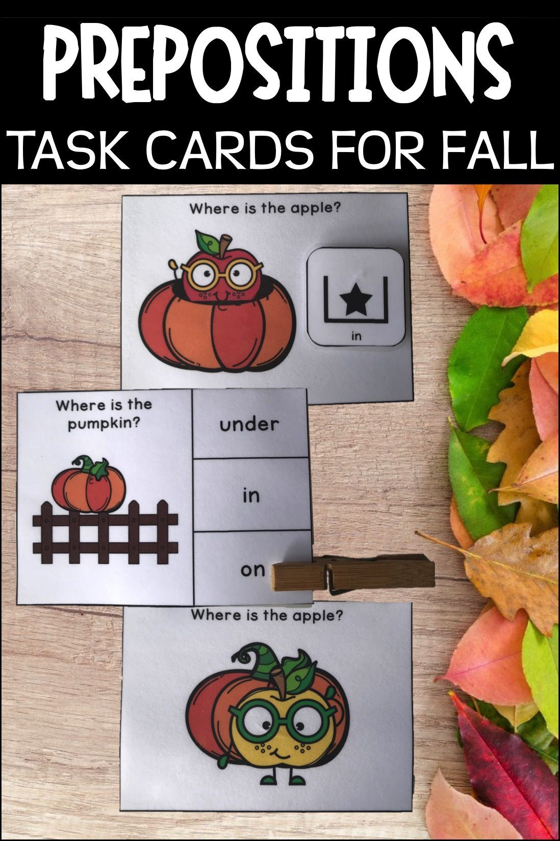 Prepositions Task Cards Fall Special Education