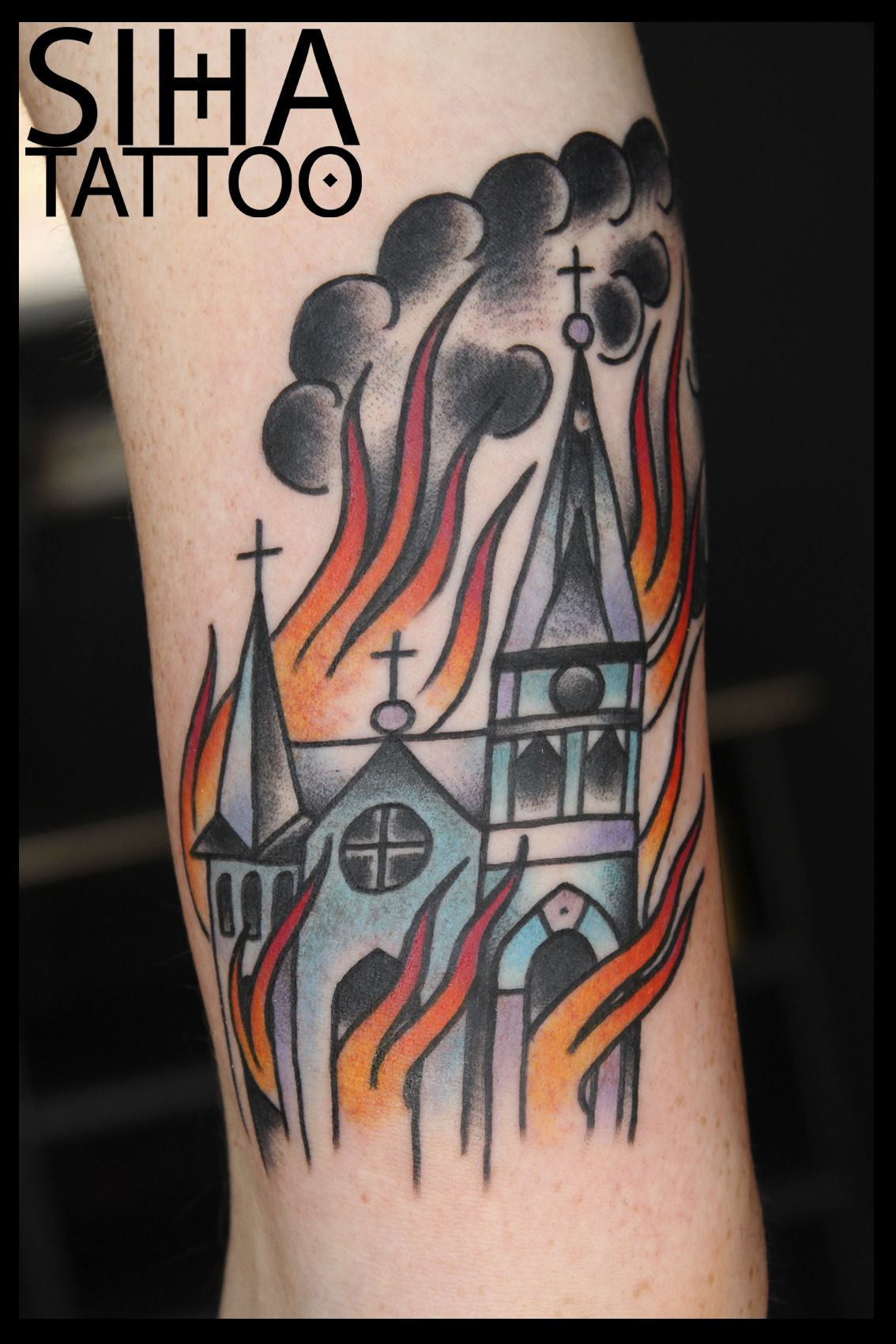 Small Church Tattoo: Church Burning, In Flames, Fire, Tradi Tattoo By Hugo At