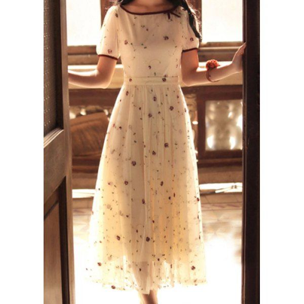 Elegant Scoop Neck Embroidered Puff Sleeve Tulle Dress For Women, AS THE PICTURE, XL in Dresses 2014 | DressLily.com