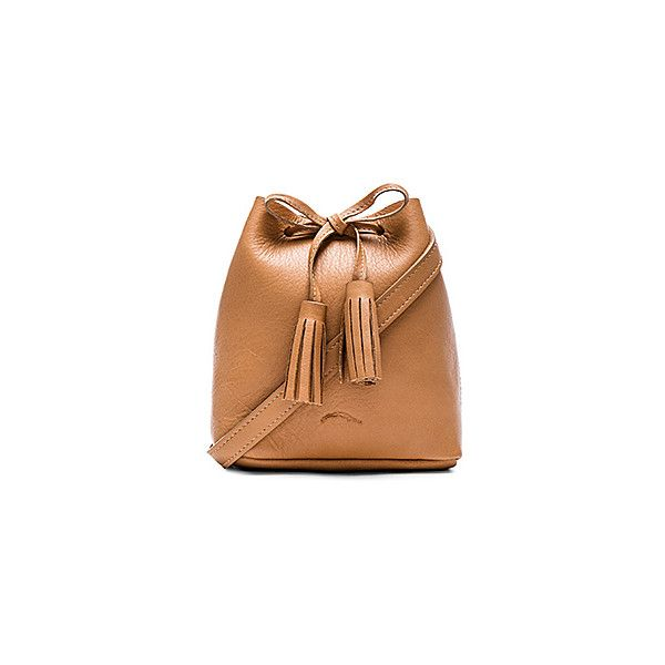 Shaffer The Greta Bucket Bag Bags (270 CAD) ❤ liked on Polyvore featuring bags, handbags, shoulder bags, beige handbags, leather shoulder bag, leather shoulder handbags, leather bucket bag and genuine leather purse