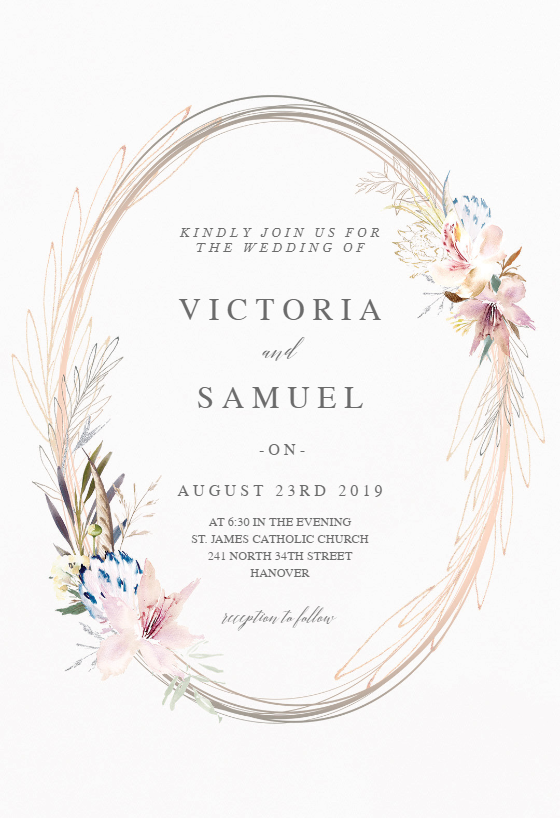 Whimsical Wreath Wedding Invitation Template Greetings Island Wedding Invitation Templates Popular Wedding Invitations Wreath Wedding Invitations