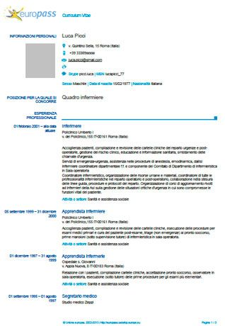 curriculum vitae europeo europass differenze