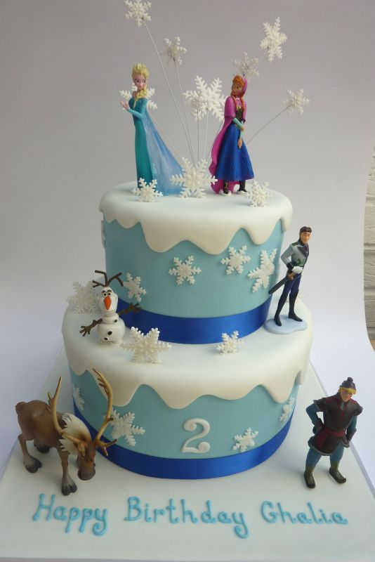 Frozen 2 Tiered Cake With Images Frozen Cake Frozen Birthday