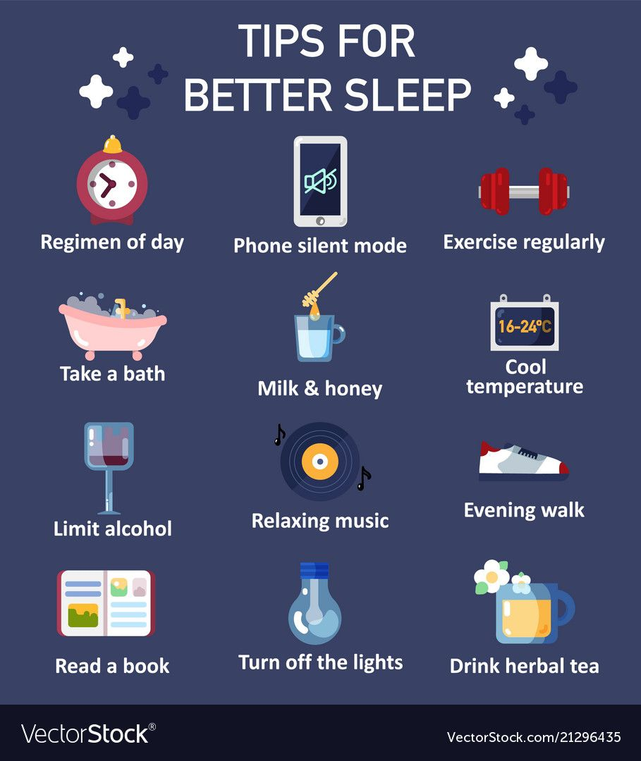 Tips for better sleep flat icon set vector image o